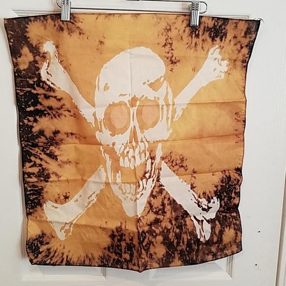 "GASOLINE GLAMOUR Accessories - Skull bleach over dye dyed custom bandana 21"" new"